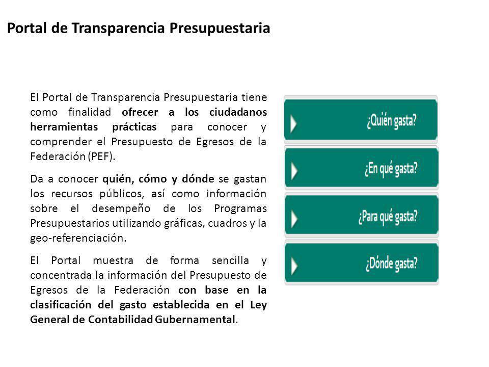 Portal de Transparencia Presupuestaria El Portal de Transparencia Presupuestaria tiene como finalidad ofrecer a los ciudadanos herramientas prácticas