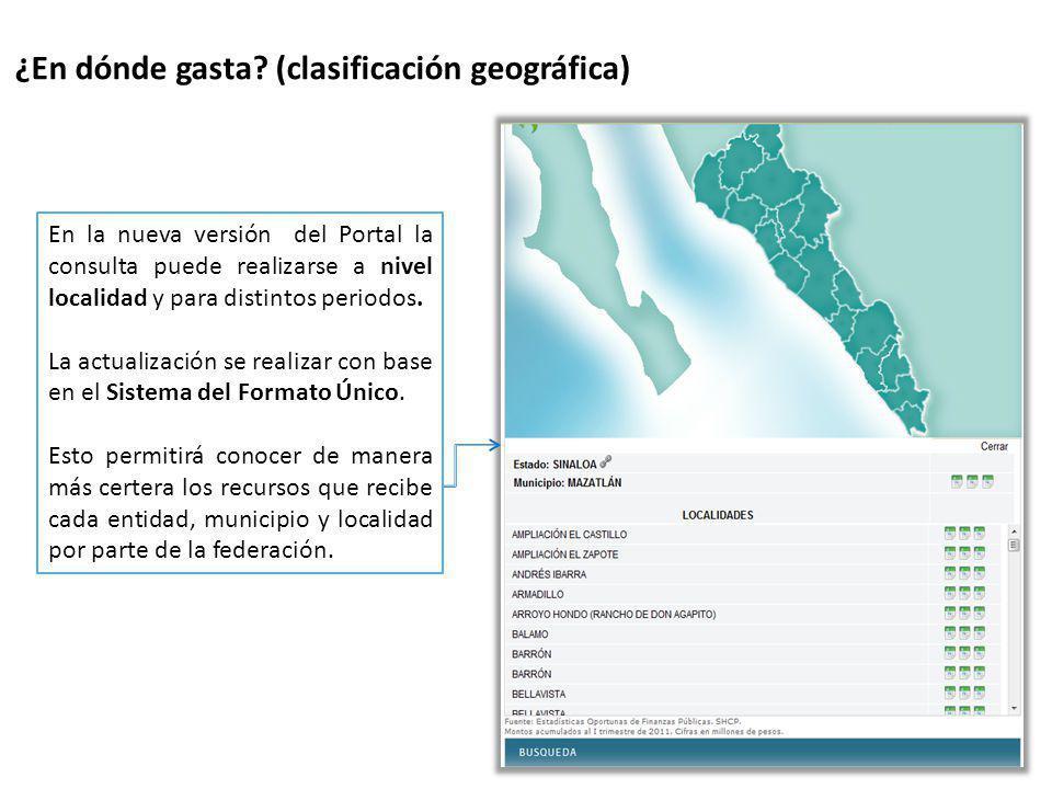 ¿En dónde gasta? (clasificación geográfica) En la nueva versión del Portal la consulta puede realizarse a nivel localidad y para distintos periodos. L