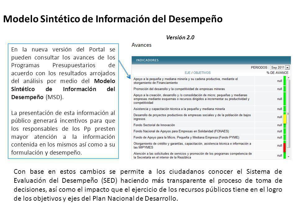Modelo Sintético de Información del Desempeño En la nueva versión del Portal se pueden consultar los avances de los Programas Presupuestarios de acuer