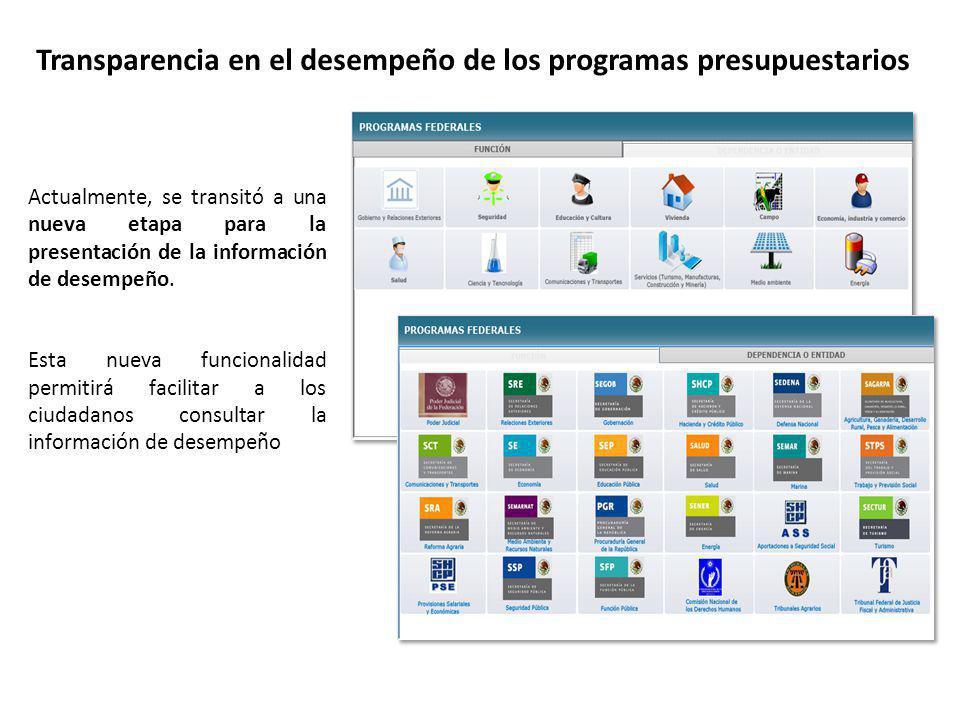 26 Transparencia en el desempeño de los programas presupuestarios Actualmente, se transitó a una nueva etapa para la presentación de la información de