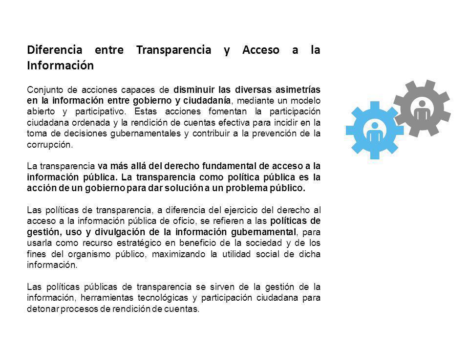 Diferencia entre Transparencia y Acceso a la Información Conjunto de acciones capaces de disminuir las diversas asimetrías en la información entre gob