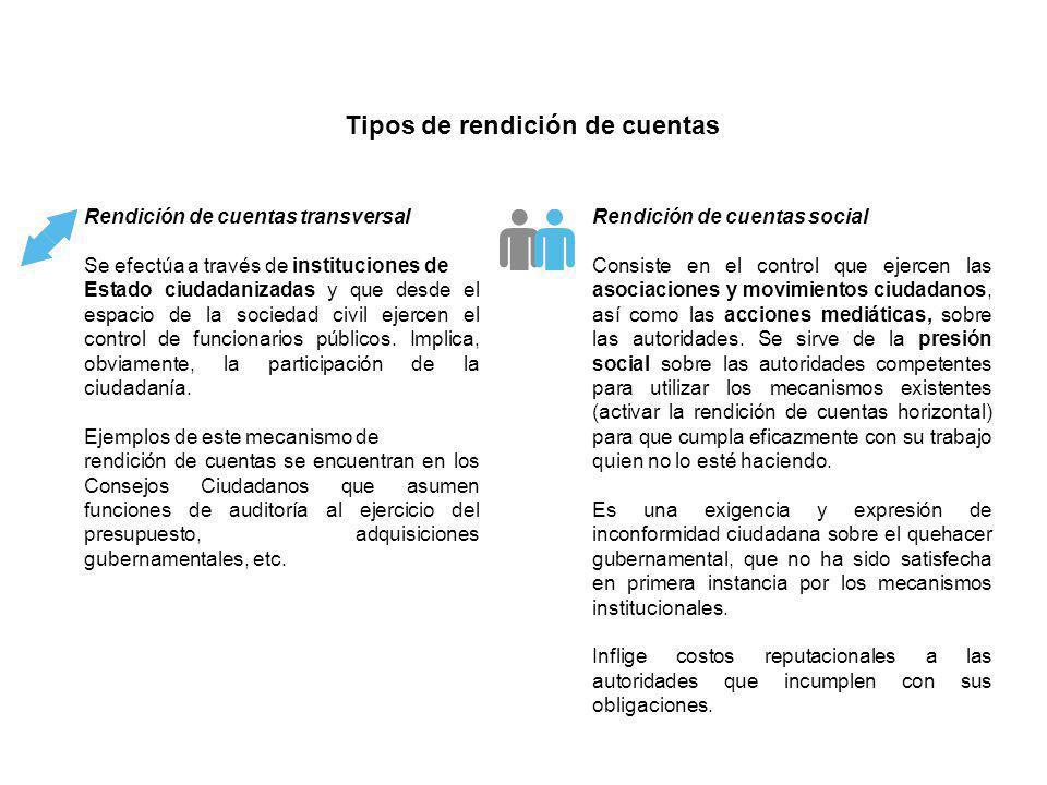Rendición de cuentas transversal Se efectúa a través de instituciones de Estado ciudadanizadas y que desde el espacio de la sociedad civil ejercen el