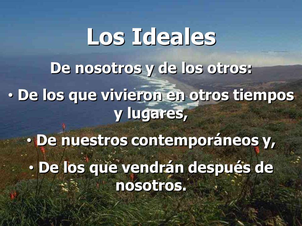 Los Ideales De nosotros y de los otros: De los que vivieron en otros tiempos y lugares, De nuestros contemporáneos y, De los que vendrán después de nosotros.