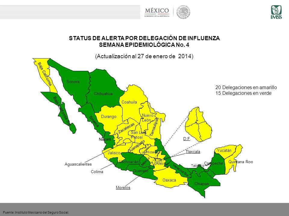 STATUS DE ALERTA POR DELEGACIÓN DE INFLUENZA SEMANA EPIDEMIOLÓGICA No. 4 (Actualización al 27 de enero de 2014) Fuente: Instituto Mexicano del Seguro