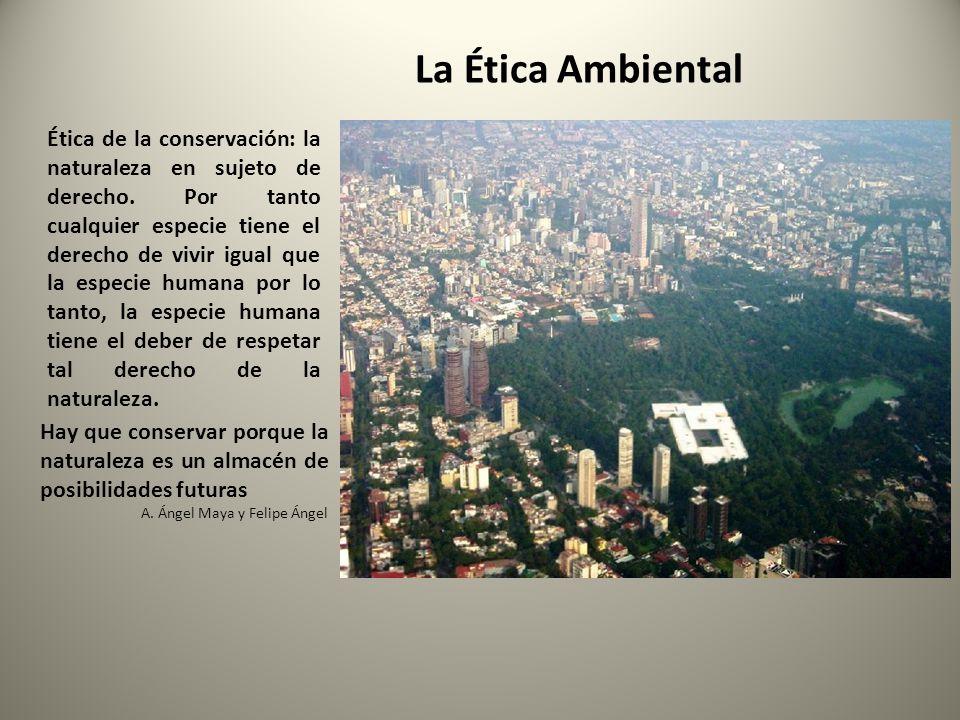 Ética de la conservación: la naturaleza en sujeto de derecho. Por tanto cualquier especie tiene el derecho de vivir igual que la especie humana por lo