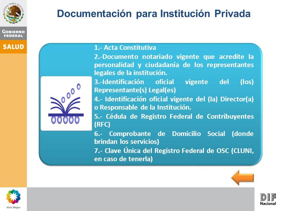 Documentación para Institución Privada 1.- Acta Constitutiva 2.-Documento notariado vigente que acredite la personalidad y ciudadanía de los represent