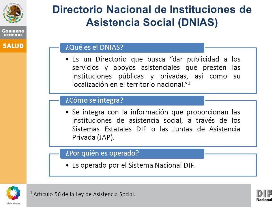 Directorio Nacional de Instituciones de Asistencia Social (DNIAS) Es un Directorio que busca dar publicidad a los servicios y apoyos asistenciales que