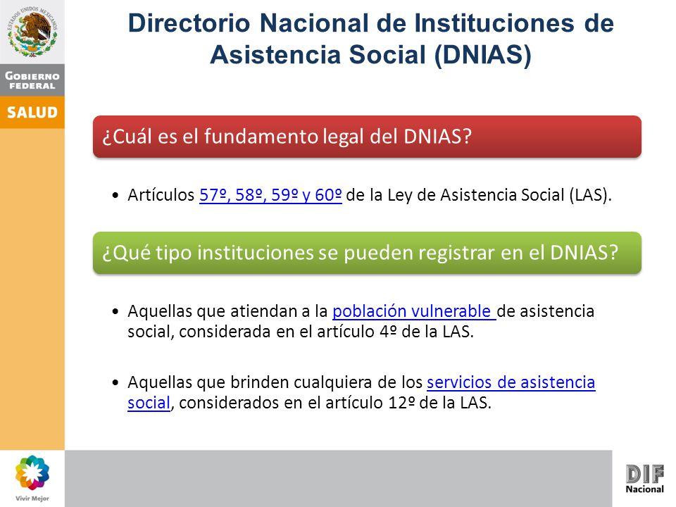 ¿Cuál es el fundamento legal del DNIAS? Artículos 57º, 58º, 59º y 60º de la Ley de Asistencia Social (LAS).57º, 58º, 59º y 60º ¿Qué tipo instituciones
