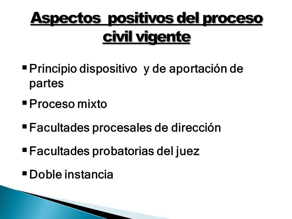 Principio dispositivo y de aportación de partes Proceso mixto Facultades procesales de dirección Facultades probatorias del juez Doble instancia