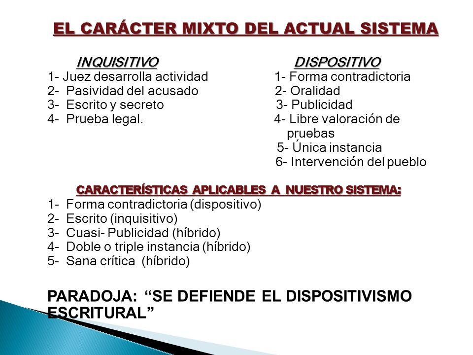 EL CARÁCTER MIXTO DEL ACTUAL SISTEMA INQUISITIVO DISPOSITIVO CARACTERÍSTICAS APLICABLES A NUESTRO SISTEMA : INQUISITIVO DISPOSITIVO 1- Juez desarrolla