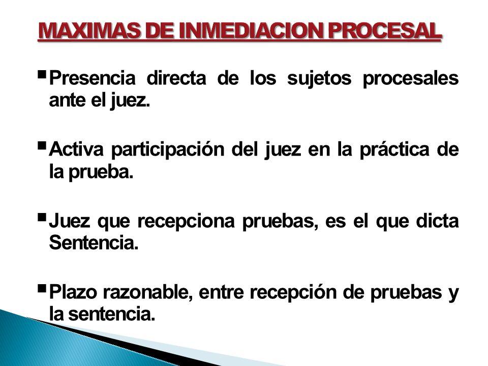 Presencia directa de los sujetos procesales ante el juez. Activa participación del juez en la práctica de la prueba. Juez que recepciona pruebas, es e