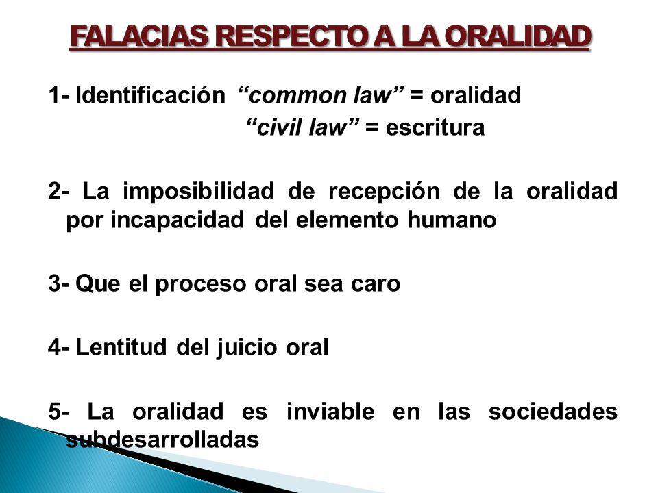 1- Identificación common law = oralidad civil law = escritura 2- La imposibilidad de recepción de la oralidad por incapacidad del elemento humano 3- Q