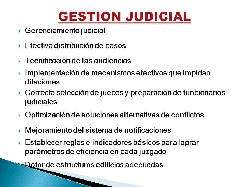 Gerenciamiento judicial Efectiva distribución de casos Tecnificación de las audiencias Implementación de mecanismos efectivos que impidan dilaciones C