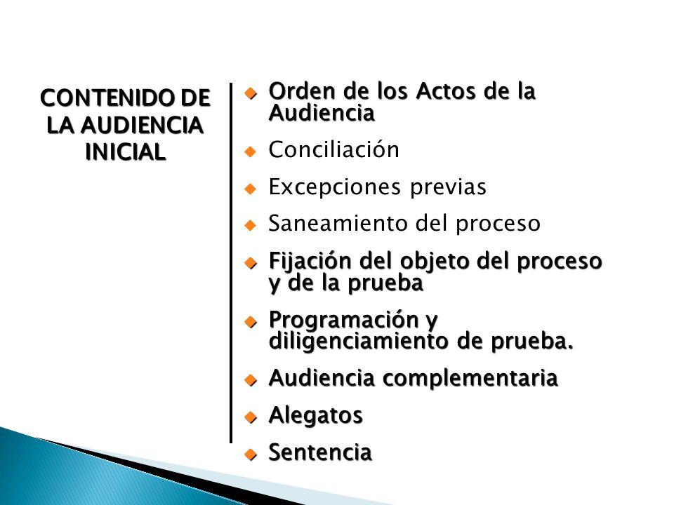 Orden de los Actos de la Audiencia Orden de los Actos de la Audiencia Conciliación Excepciones previas Saneamiento del proceso Fijación del objeto del