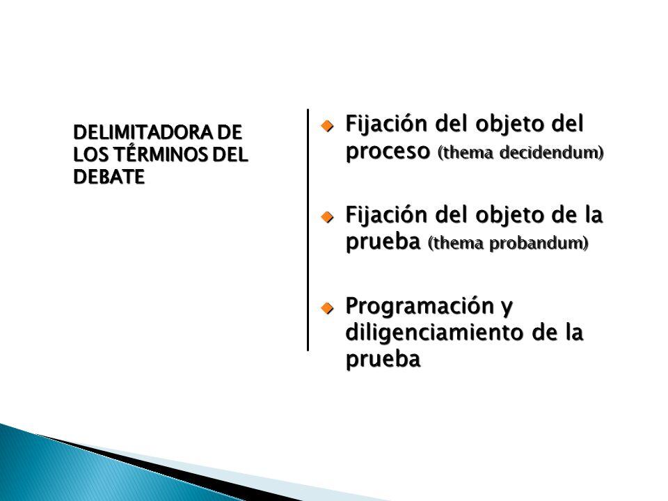 Fijación del objeto del proceso (thema decidendum) Fijación del objeto del proceso (thema decidendum) Fijación del objeto de la prueba (thema probandu