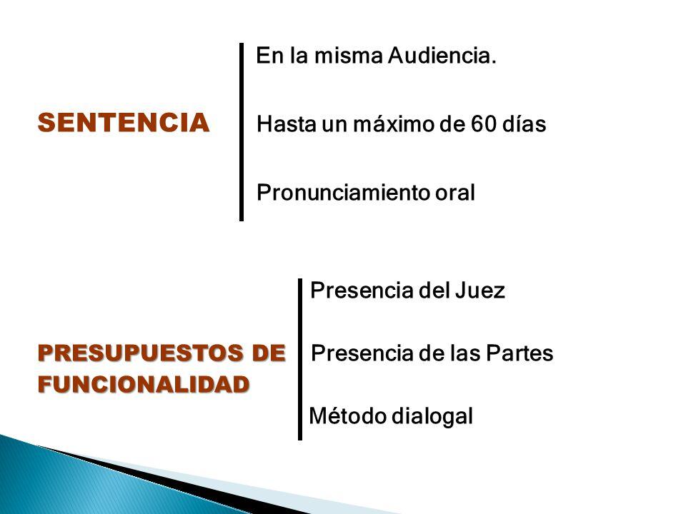 En la misma Audiencia. SENTENCIA SENTENCIA Hasta un máximo de 60 días Pronunciamiento oral Presencia del Juez PRESUPUESTOS DE PRESUPUESTOS DE Presenci
