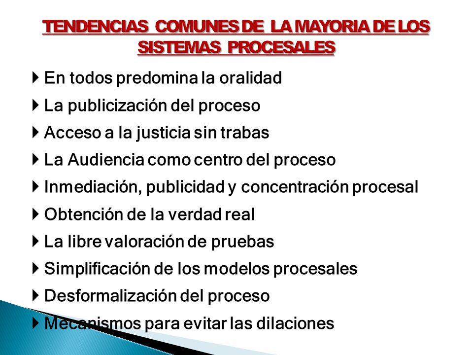 En todos predomina la oralidad La publicización del proceso Acceso a la justicia sin trabas La Audiencia como centro del proceso Inmediación, publicid