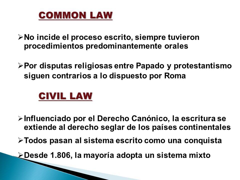 COMMON LAW No incide el proceso escrito, siempre tuvieron procedimientos predominantemente orales Por disputas religiosas entre Papado y protestantism