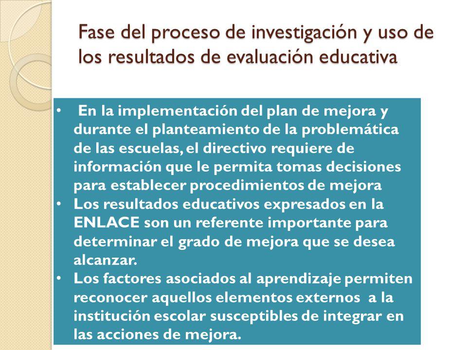 Fase del proceso de investigación y uso de los resultados de evaluación educativa En la implementación del plan de mejora y durante el planteamiento d