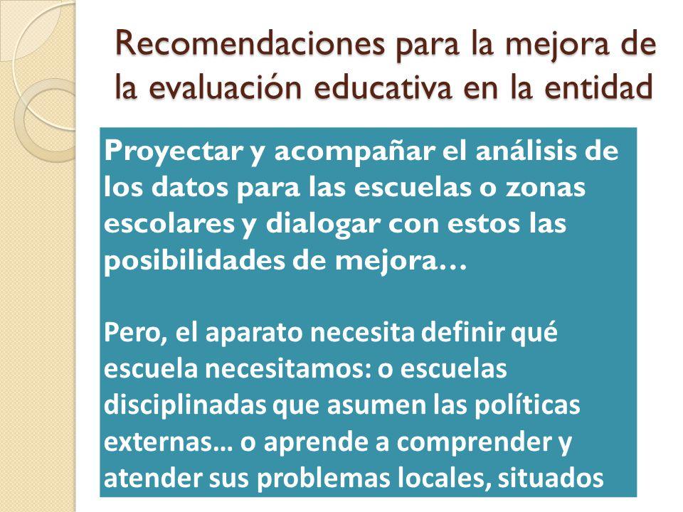 Recomendaciones para la mejora de la evaluación educativa en la entidad Proyectar y acompañar el análisis de los datos para las escuelas o zonas escol