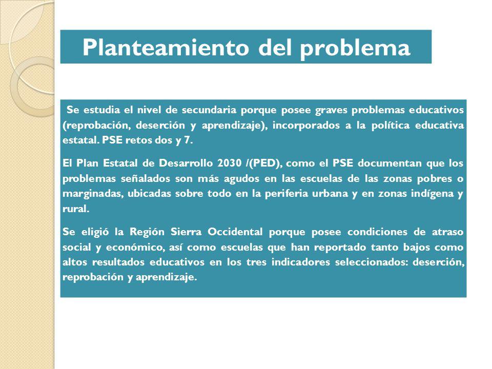 Planteamiento del problema Se estudia el nivel de secundaria porque posee graves problemas educativos (reprobación, deserción y aprendizaje), incorpor