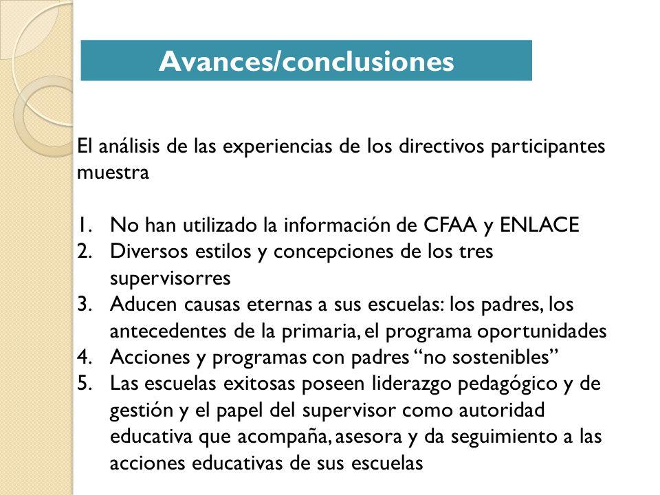 Avances/conclusiones El análisis de las experiencias de los directivos participantes muestra 1.No han utilizado la información de CFAA y ENLACE 2.Dive