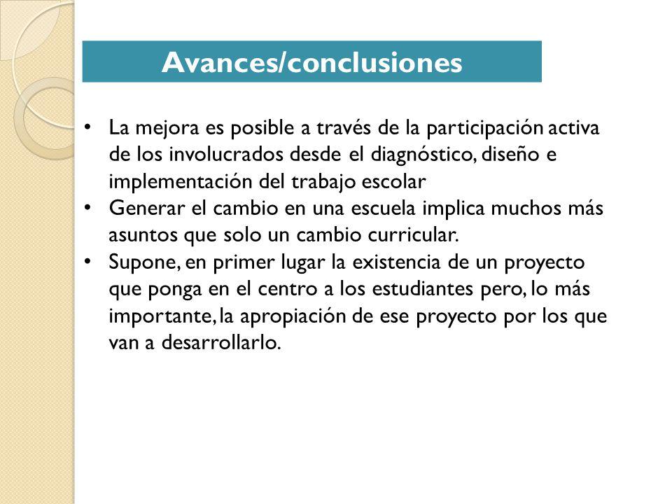 Avances/conclusiones La mejora es posible a través de la participación activa de los involucrados desde el diagnóstico, diseño e implementación del tr
