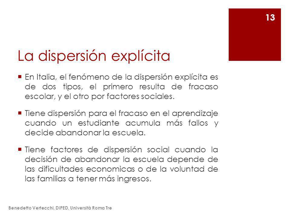 La dispersión explícita En Italia, el fenómeno de la dispersión explícita es de dos tipos, el primero resulta de fracaso escolar, y el otro por factores sociales.