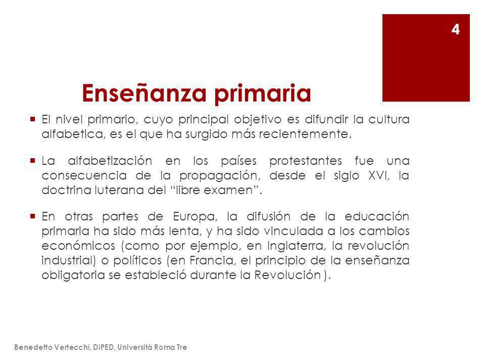 Enseñanza primaria El nivel primario, cuyo principal objetivo es difundir la cultura alfabetica, es el que ha surgido más recientemente.