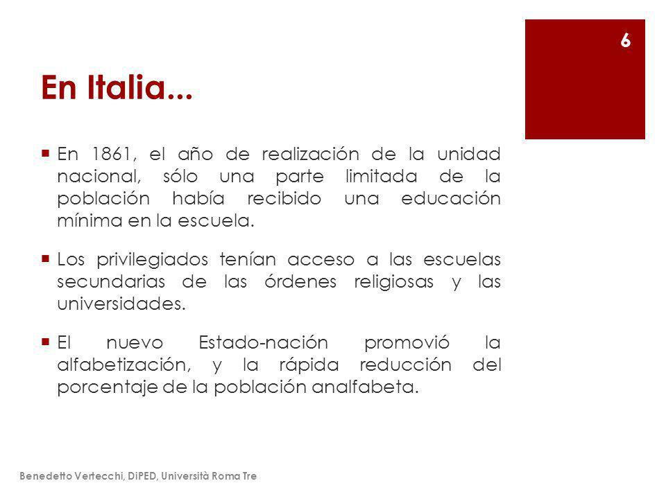 La dispersión inaparente Benedetto Vertecchi, DiPED, Università Roma Tre 17 etcétera pero, a partir de datos comparativos (nacional o internacional), hay una baja puntuación media y una alta variancia.