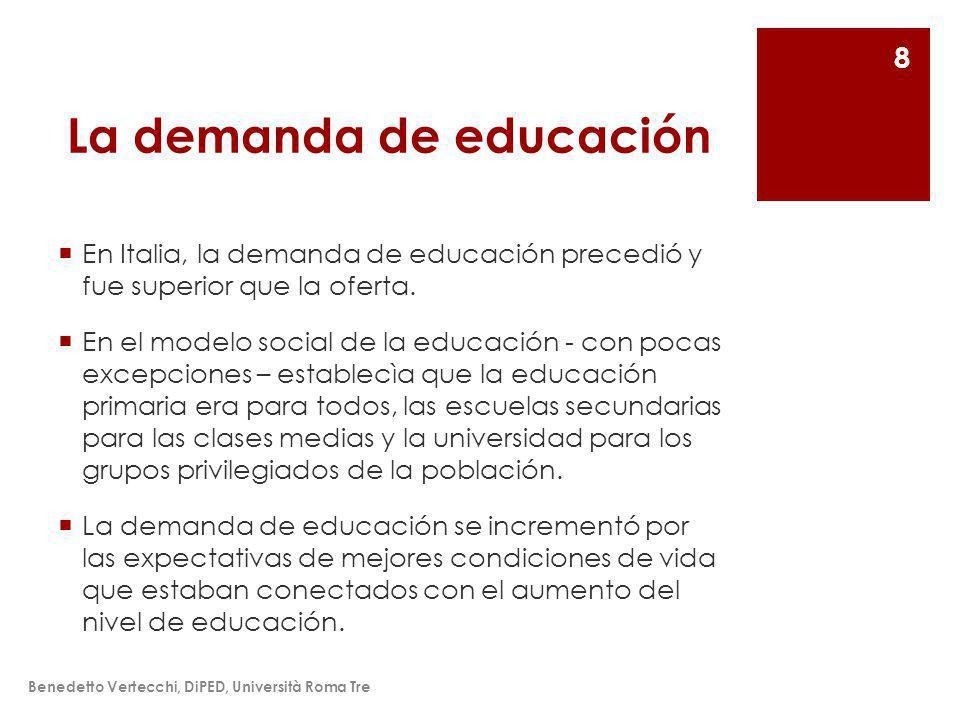 La demanda de educación En Italia, la demanda de educación precedió y fue superior que la oferta.