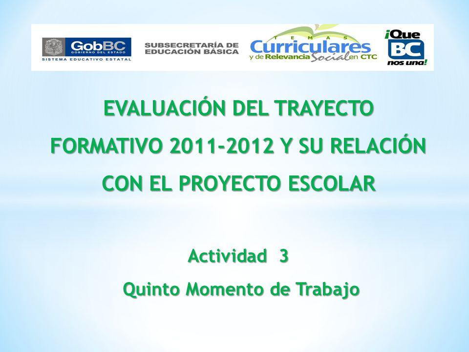 Reflexionar las principales acciones a impulsar en el ciclo escolar 2012-2013 al obtener insumos de trabajo con el análisis y evaluación de los factores asociados, los contenidos del trayecto formativo y el proyecto escolar.