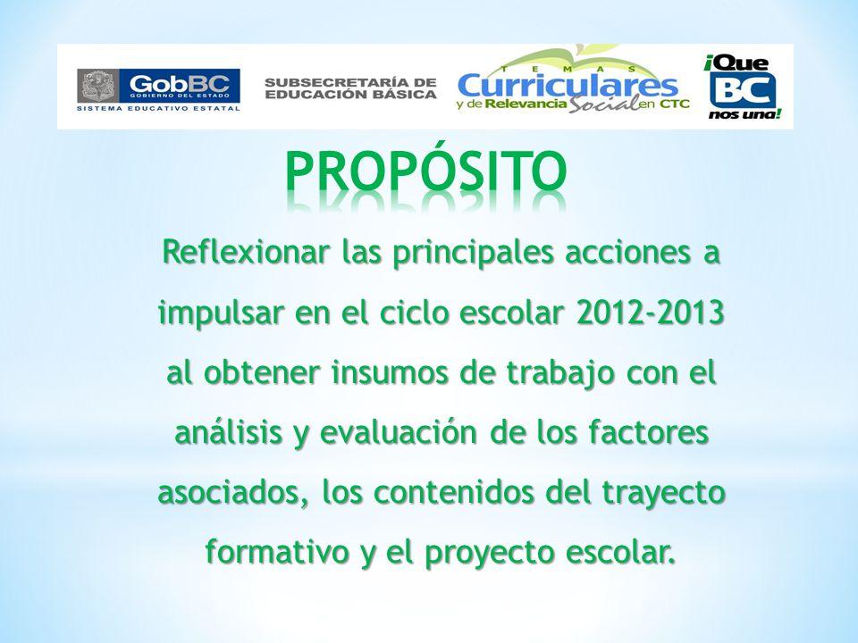 Reflexionar las principales acciones a impulsar en el ciclo escolar 2012-2013 al obtener insumos de trabajo con el análisis y evaluación de los factor
