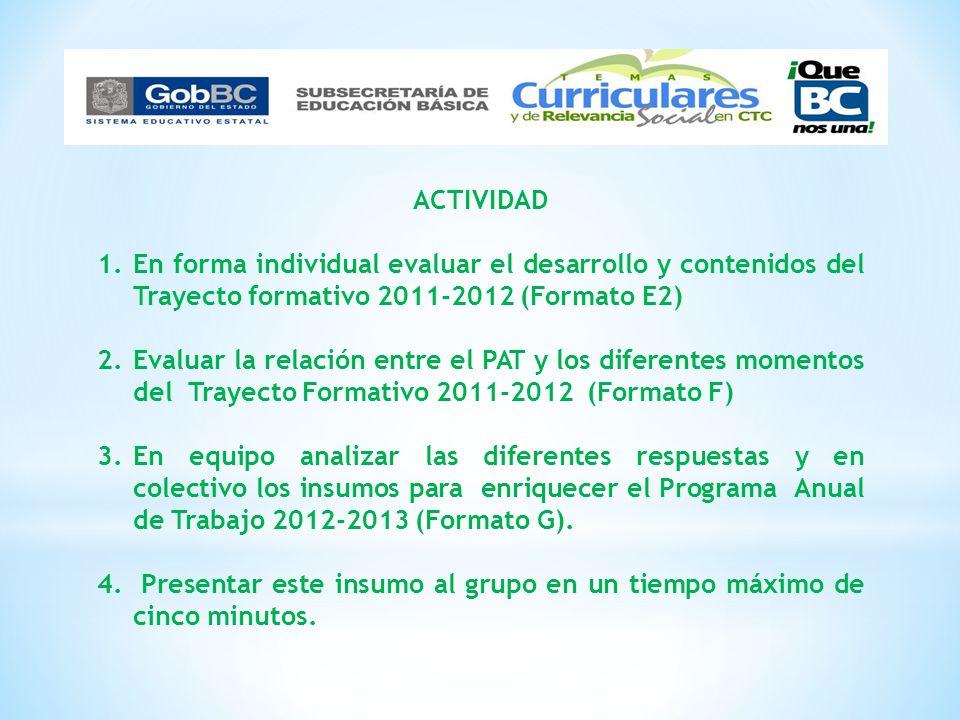 ACTIVIDAD 1.En forma individual evaluar el desarrollo y contenidos del Trayecto formativo 2011-2012 (Formato E2) 2.Evaluar la relación entre el PAT y
