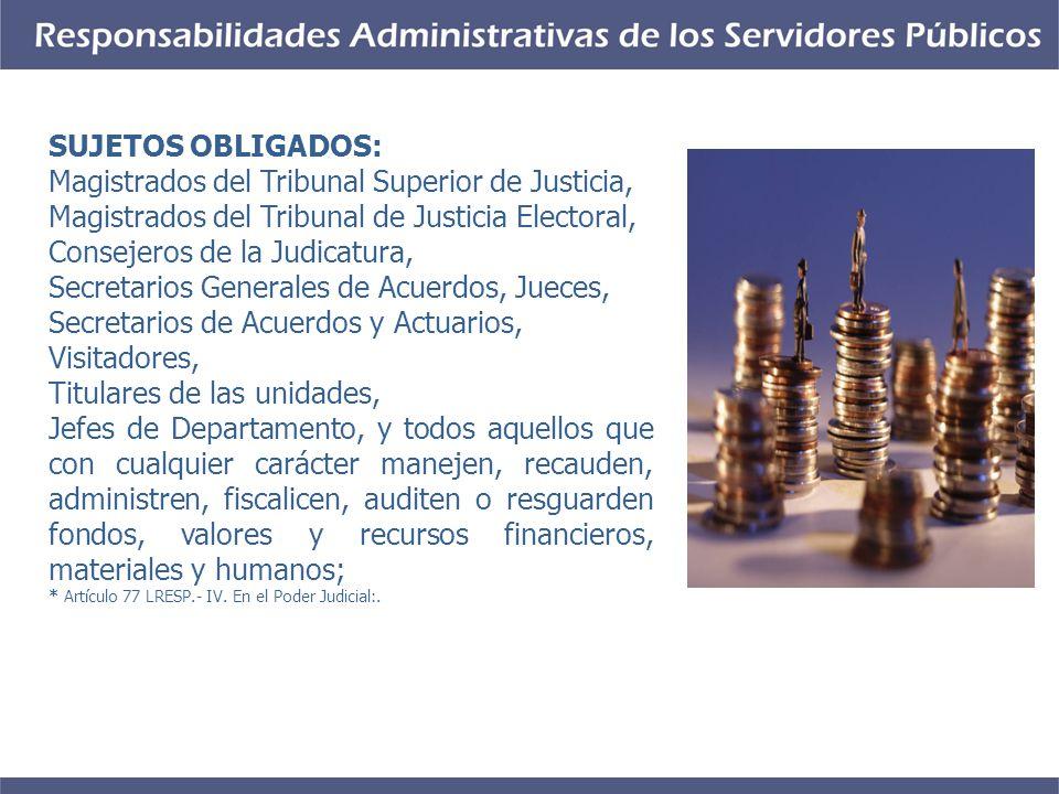 SUJETOS OBLIGADOS: Magistrados del Tribunal Superior de Justicia, Magistrados del Tribunal de Justicia Electoral, Consejeros de la Judicatura, Secreta