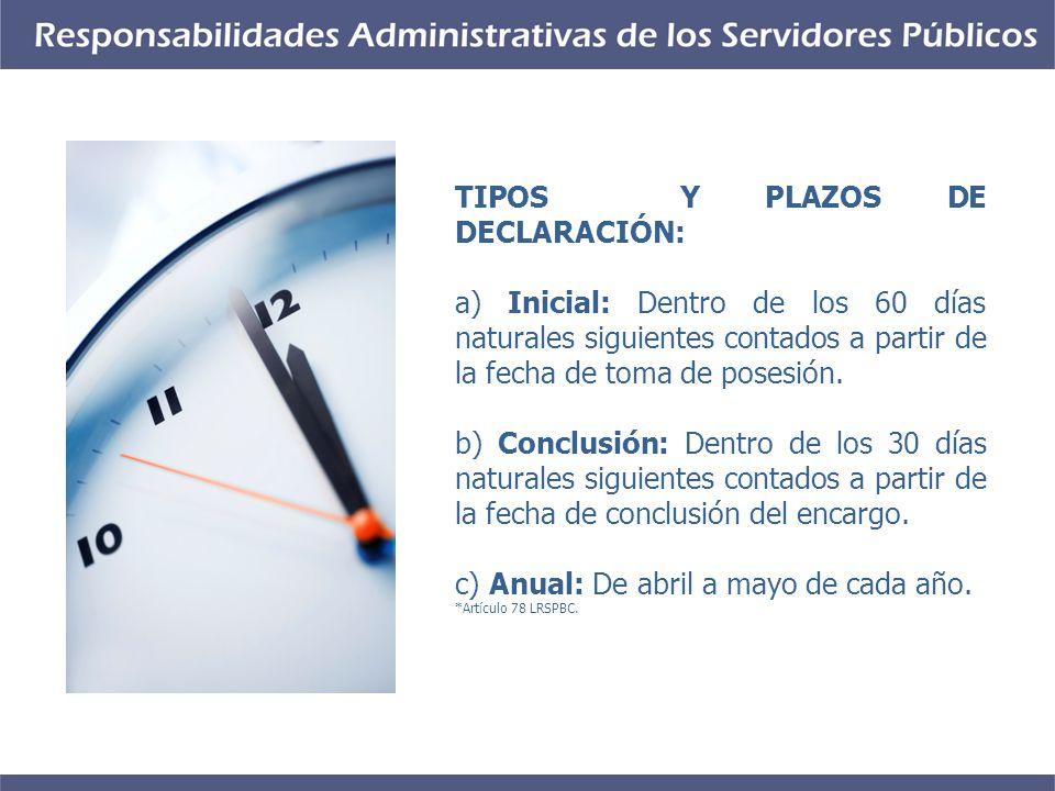 TIPOS Y PLAZOS DE DECLARACIÓN: a) Inicial: Dentro de los 60 días naturales siguientes contados a partir de la fecha de toma de posesión.