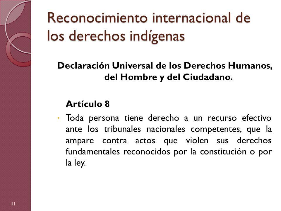 Reconocimiento internacional de los derechos indígenas Declaración Universal de los Derechos Humanos, del Hombre y del Ciudadano. Artículo 8 Toda pers