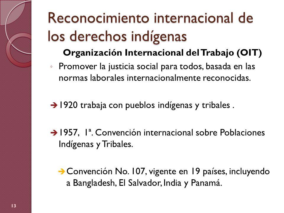 Reconocimiento internacional de los derechos indígenas Organización Internacional del Trabajo (OIT) Promover la justicia social para todos, basada en