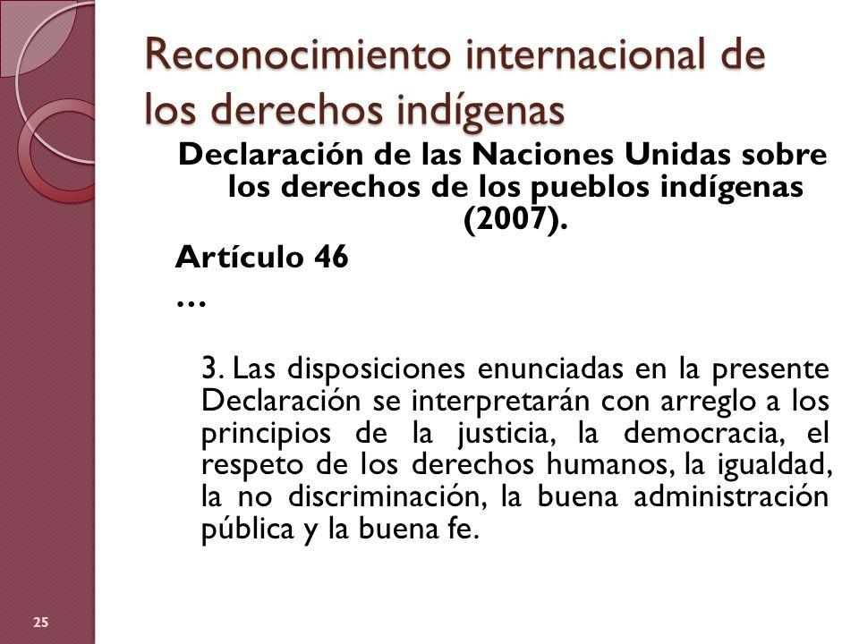 Reconocimiento internacional de los derechos indígenas Declaración de las Naciones Unidas sobre los derechos de los pueblos indígenas (2007). Artículo