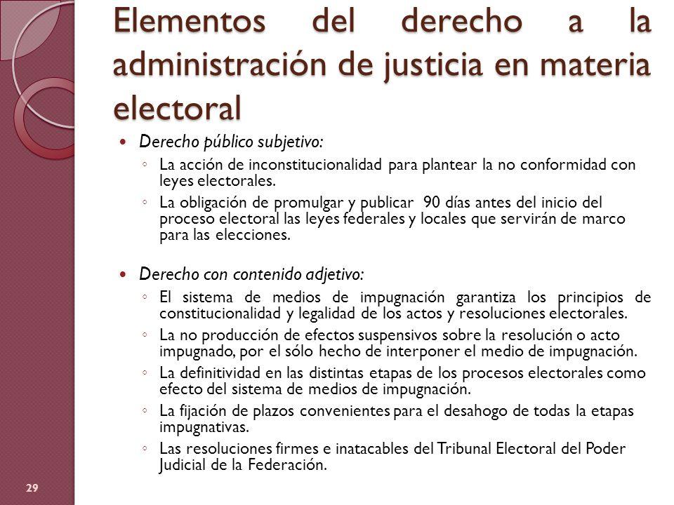 Elementos del derecho a la administración de justicia en materia electoral 29 Derecho público subjetivo: La acción de inconstitucionalidad para plante