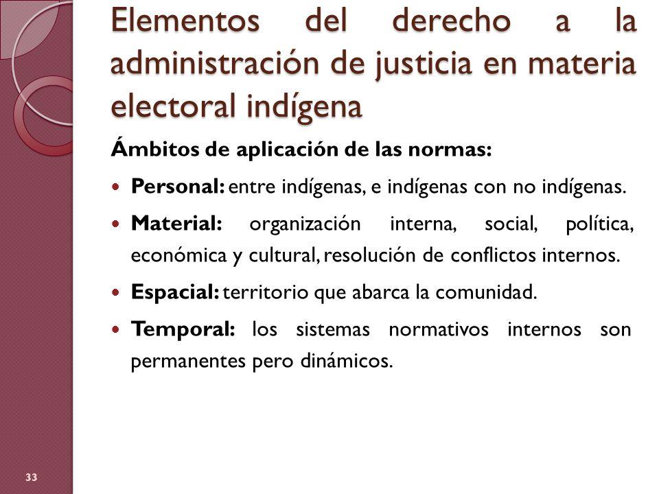 Elementos del derecho a la administración de justicia en materia electoral indígena Ámbitos de aplicación de las normas: Personal: entre indígenas, e