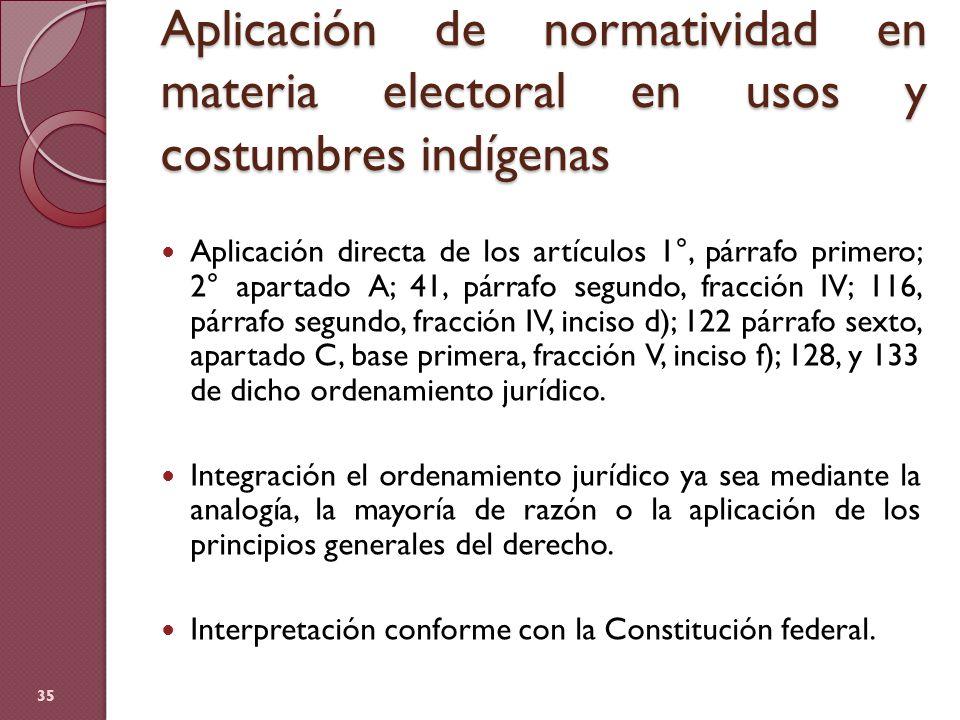 Aplicación de normatividad en materia electoral en usos y costumbres indígenas Aplicación directa de los artículos 1°, párrafo primero; 2° apartado A;