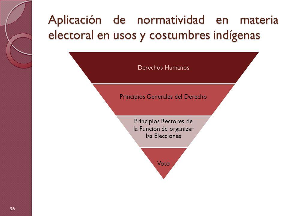 Aplicación de normatividad en materia electoral en usos y costumbres indígenas 36 Derechos Humanos Principios Generales del Derecho Principios Rectore