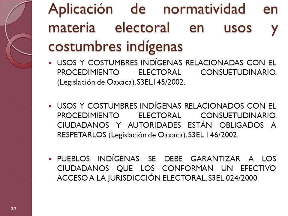 Aplicación de normatividad en materia electoral en usos y costumbres indígenas USOS Y COSTUMBRES INDÍGENAS RELACIONADAS CON EL PROCEDIMIENTO ELECTORAL