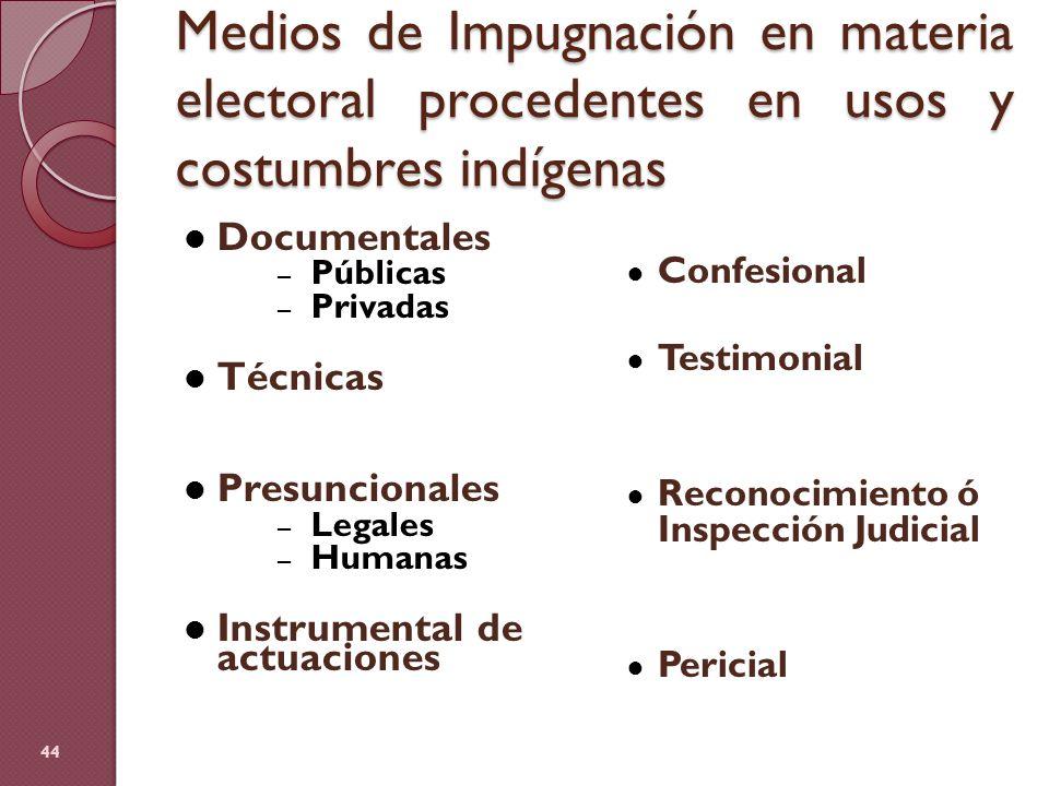Medios de Impugnación en materia electoral procedentes en usos y costumbres indígenas Documentales – Públicas – Privadas Técnicas Presuncionales – Leg