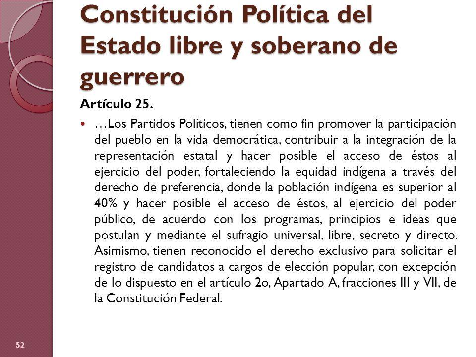 Constitución Política del Estado libre y soberano de guerrero Artículo 25. …Los Partidos Políticos, tienen como fin promover la participación del pueb