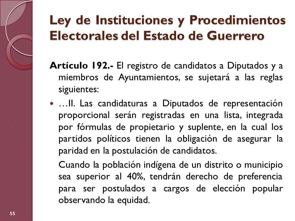 Ley de Instituciones y Procedimientos Electorales del Estado de Guerrero Artículo 192.- El registro de candidatos a Diputados y a miembros de Ayuntami