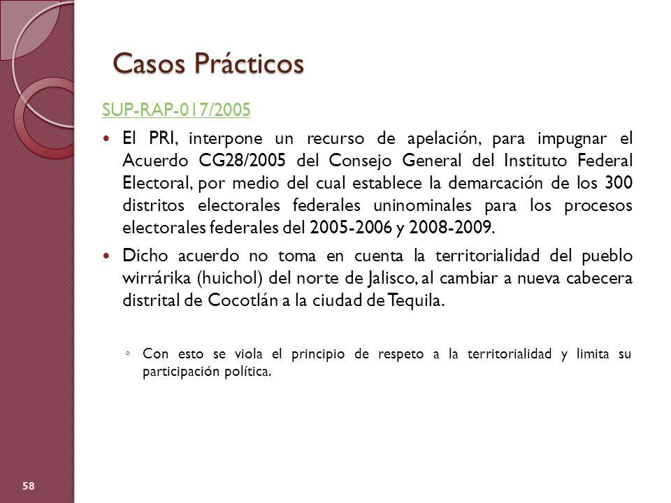Casos Prácticos SUP-RAP-017/2005 El PRI, interpone un recurso de apelación, para impugnar el Acuerdo CG28/2005 del Consejo General del Instituto Feder