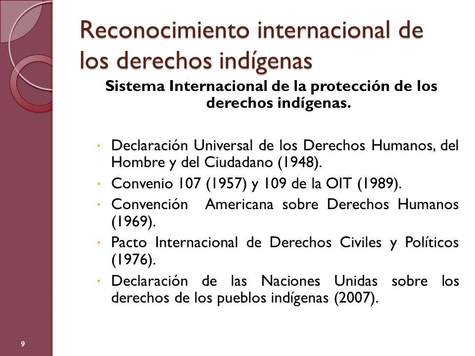 Reconocimiento internacional de los derechos indígenas Sistema Internacional de la protección de los derechos indígenas. Declaración Universal de los