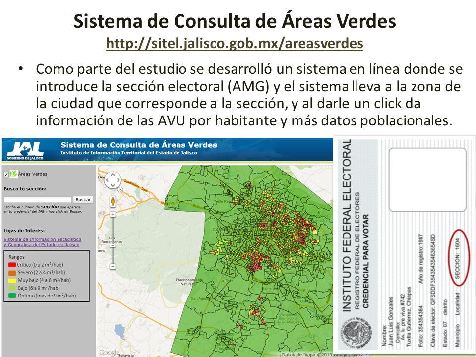 Instituto de Información Territorial del Estado de Jalisco iTerritorial Sistema de Consulta de Áreas Verdes http://sitel.jalisco.gob.mx/areasverdes ht